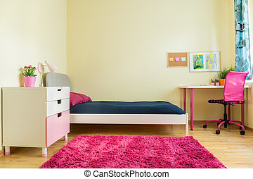 Cute room for schoolgirl - Horizontal view of cute room for ...