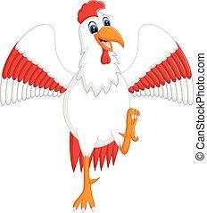 Cute rooster cartoon presentingt