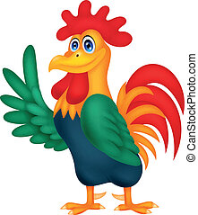 Cute rooster cartoon waving - Vector illustration of Cute...
