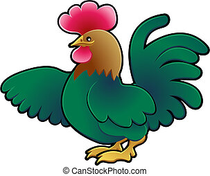Cute Rooster Farm Animal Vector Illustration - A Cute...