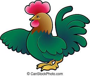 Cute Rooster Farm Animal Vector Illustration