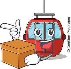 Cute ropeway cartoon character having a box