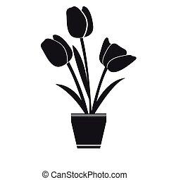Cute rose on a pot silhouette