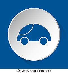 cute rounded car, simple blue icon on white button