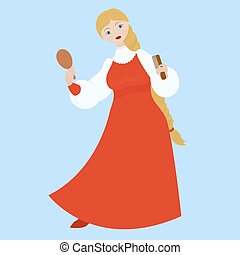 cute Russian girl in red traditional folk dress