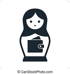 Cute Russian Matryoshka nesting doll folk toy with wallet vector icon illustration. Simple single color contemporary style design element isolated on white. Money, finance, saving, spending concept.