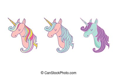 cute, sæt, trylleri, iconerne, -, hånd, unicons, stram