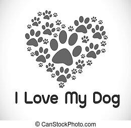 cute, símbolo, amor, cão