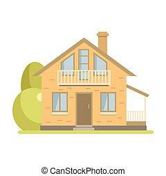 cute, sótão, casa, cabana, tijolo, sacada