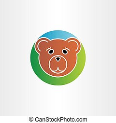 cute sad bear head icon