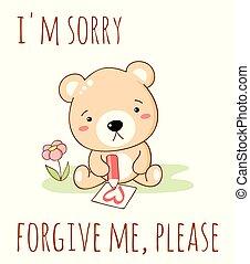 Cute sad cartoon bear draws a pencil heart. Inscription I'm ...