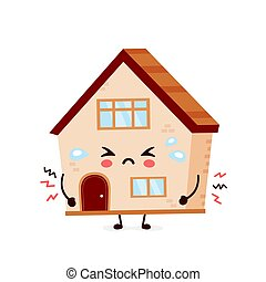 Cute sad cry house. Vector flat