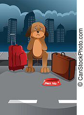 Cute sad dog - A vector illustration of sad dog waiting for ...