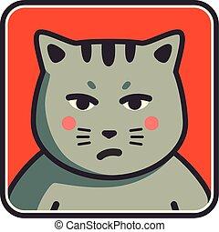 Cute sad grumpy cat icon. Cat avatar