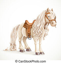 Cute saddled little pony horse isolated on a white background