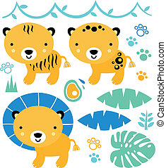 Cute safari animals set isolated on white ( blue and yellow )