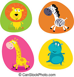 Cute safari animals set - lion... - Vector Illustration of...