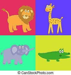 Cute safari cartoon animals set - lion, giraffe, crocodile and elephant