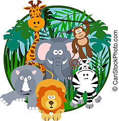 Cute Safari Cartoon - Illustration of a cute safari group of...