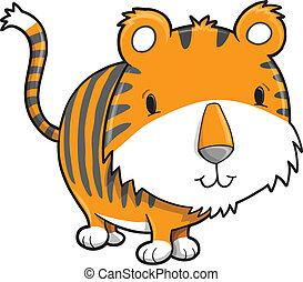 Cute Safari Tiger Cub Vector