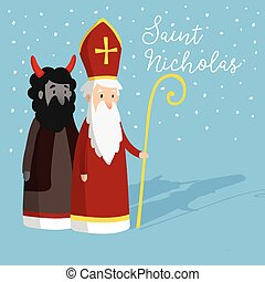 Cute Saint Nicholas with devil and falling snow. Christmas invitation card, vector illustration, winter background