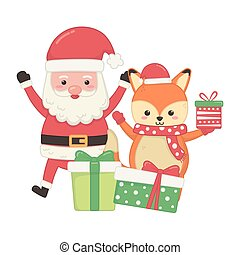 cute santa and fox with gifts merry christmas
