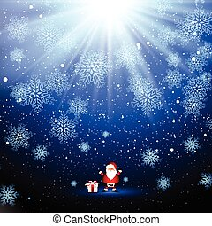 Cute Santa and gift on snowflake background