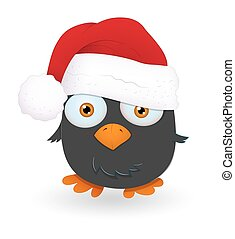 Cute Santa Bird Vector