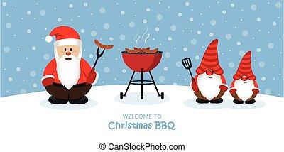 cute santa claus and dwarf at christmas bbq