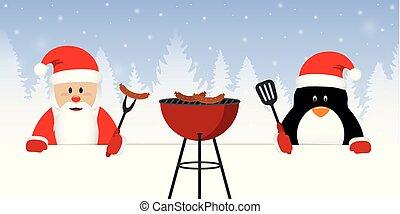 cute santa claus and penguin at christmas bbq
