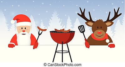 cute santa claus and reindeer at christmas bbq