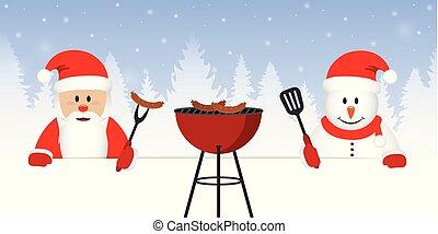 cute santa claus and snowman at christmas bbq