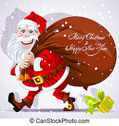 Cute Santa Claus carries a bag of gifts and Happy New Year...
