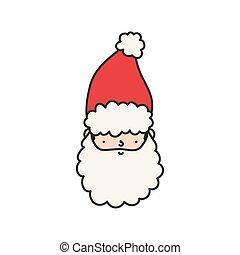 cute santa claus face character happy christmas