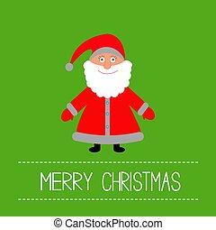 Cute Santa Claus. Green background. Merry Christmas card.