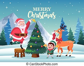 cute santa claus with elf and deer decorating christmas tree scene