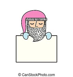 cute santa claus with pink hat holding banner blank