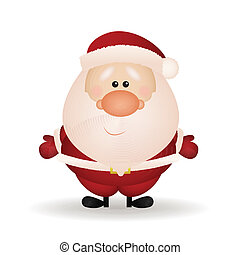 Cute Santa Claus with shadow effect on white background
