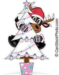 Cute Santa Hat Reindeer and Tree