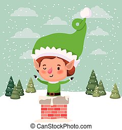 cute santa helper with chimney vector illustration design