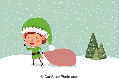 cute santa helper with gift sack vector illustration design
