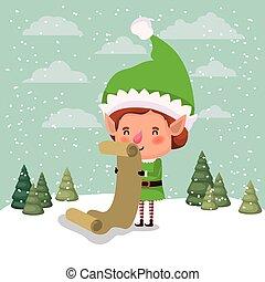 cute santa helper with gifts list vector illustration design