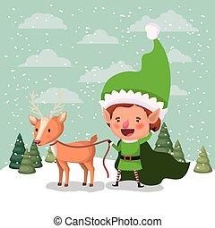 cute santa helper with reindeer in snowscape vector...