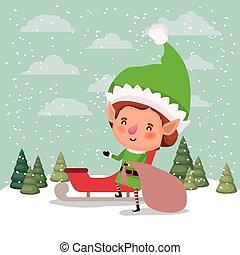 cute santa helper with sled vector illustration design