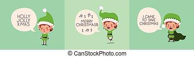 cute santa helpers with speech bubbles