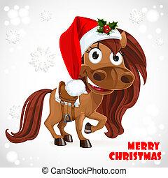 Cute Santa Horse on Christmas card