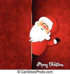 Cute Santa on snowflake background