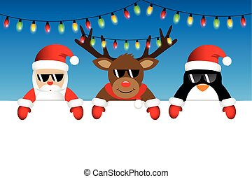 cute santa reindeer and penguin with sunglasses and christmas fairy lights