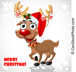 Cute Santa Reindeer with christmas decorations on horn