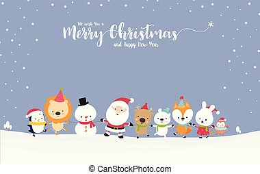 Cute Santa snowman with animal cartoon hand in hand with copy space 001